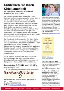 """Lesung am 7 Juli 2016 """"Das Herz, unser Glüsckmuskel"""" mit Beate Pracht bei Beratungsbilder Tina Lahl in Essen"""