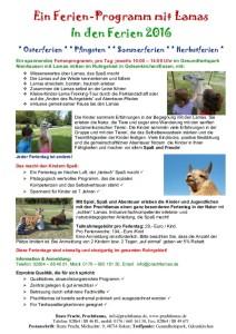 Ferien Programm mit den Pracht Lamas in den Oster Sommer Herbst Ferien 2020