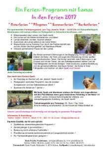 Ferien Programm mit den Prachtlamas in den Pfingst-, Sommer-, Herbst- und Winter-Ferien 2017