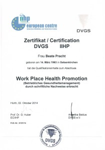 Zertifikat DVGS für Betriebliches Gesundheitsmanagement - Beate Pracht