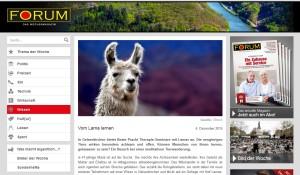 Artikel im saarländer Magazin Forum über die Achtsamkeits-Lama-Wanderungen in Gelsenkirchen (Sreenshot)