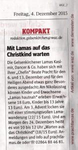 WAZ vom 04.12.2015: Mit Lamas auf das Christkind warten im Ruhrgebiet, Foto: Prachtlamas