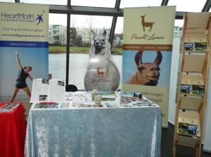 """Unser Stand auf der Wohlfühlmesse Gelsenkirchen (Prachtlamas). Vortrag von Beate Pracht um 14 Uhr über """"Herzintelligenz"""""""