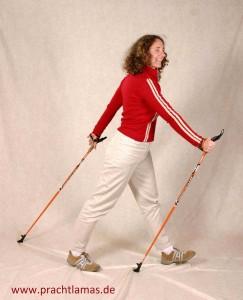 Foto: Beate Pracht zeigt den aktiven Stockeinsatz beim Nordic Walking