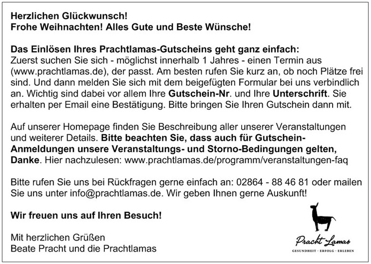 Herzlichen Glückwunsch zu Ihrem Prachtlamas Geschenk Gutschein - Infos zum Einlösen (Auf das Bild klicken)