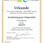 Urkunde Auszeichnung gesund in NRW 2014